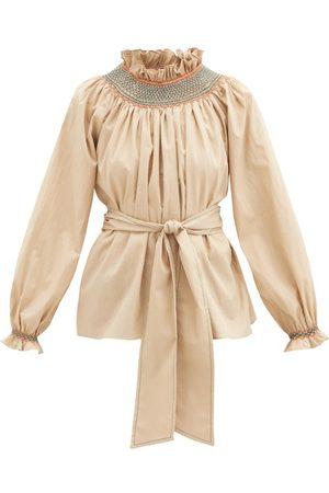 Loretta Caponi - Maria Smocked Cotton-poplin Blouse - Womens - Camel