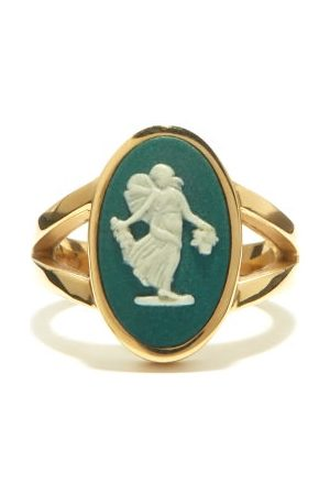 Ferian Women Rings - Dancing Hours Wedgwood Cameo & Gold Signet Ring - Womens