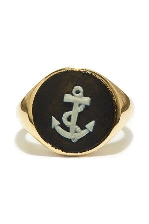 Ferian Anchor Wedgwood Cameo & 9kt Gold Signet Ring - Womens