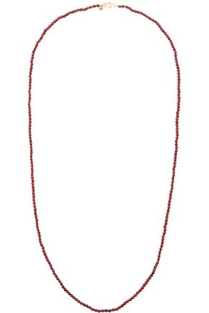 ROSA DE LA CRUZ Garnet & 18kt Gold Beaded Necklace - Womens - Burgundy