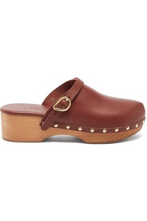 Ancient Greek Sandals Wing-buckle Leather Clog Mules - Womens - Dark