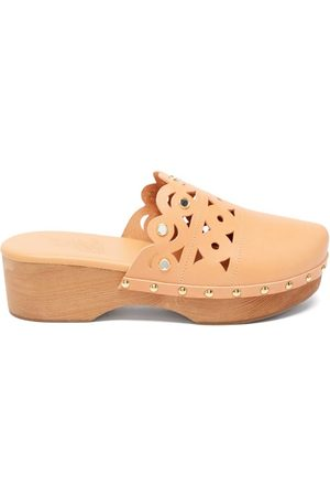 Ancient Greek Sandals Grego Laser-cut Leather Clogs - Womens - Tan