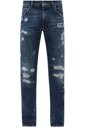 Dolce & Gabbana Distressed Straight-leg Jeans - Mens - Dark