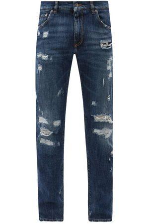 Dolce & Gabbana Men Straight - Distressed Straight-leg Jeans - Mens - Dark