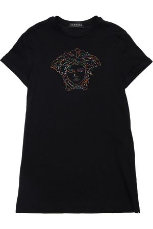 VERSACE Embellished Medusa Cotton Jersey Dress