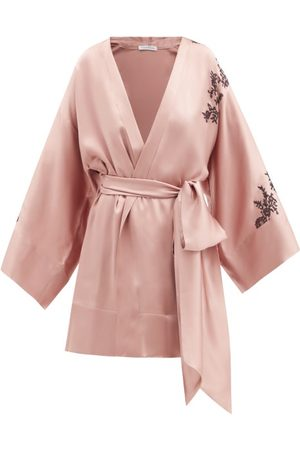 CARINE GILSON Lace-trimmed Cropped Silk-satin Robe - Womens - Light