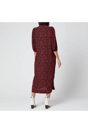Ganni Women's Leaf Print Crepe Shirt Dress