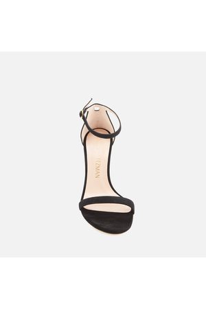 Stuart Weitzman Women's Nunaked Straight Suede Barely There Heeled Sandals