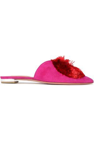 Aquazzura Women Flat Shoes - Woman Crystal Lotus Embellished Suede Slippers Fuchsia Size 35