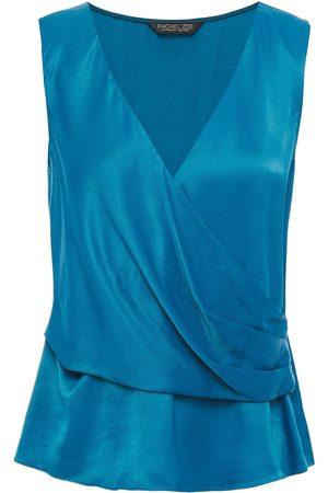 Rachel Zoe Women Tank Tops - Woman Cameo Wrap-effect Draped Satin-twill Top Azure Size L