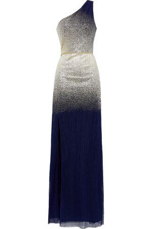 Marchesa Notte Women Evening dresses - Woman One-shoulder Metallic Dégradé Plissé-tulle Gown Navy Size 10