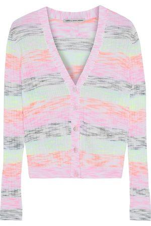 AUTUMN CASHMERE Women Cardigans - Woman Striped Mélange Ribbed Cotton-blend Cardigan Size L