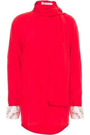 Victoria Beckham Women Blouses - Woman Tie-neck Silk Crepe De Chine Blouse Size 10