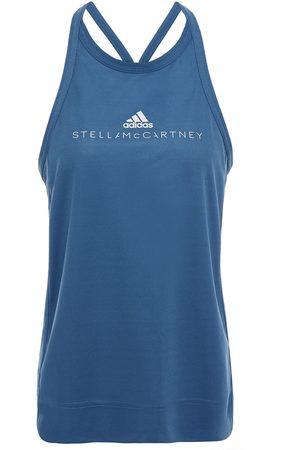 adidas Women T-shirts - Woman Printed Stretch-piqué Tank Slate Size M