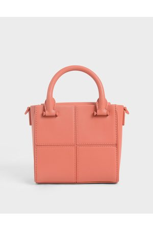 CHARLES & KEITH Textured Panelled Top Handle Bag