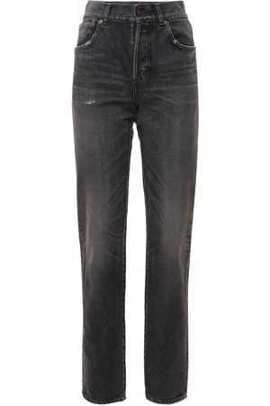 Saint Laurent Women Straight - Cotton Denim Straight Leg Jeans
