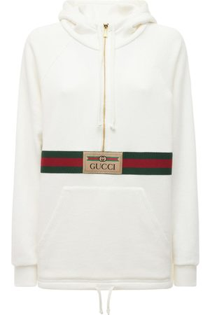 Gucci Women Hoodies - Logo Cotton Jersey Hoodie W/front Zip