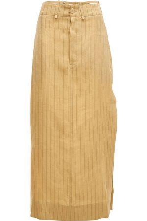 Jacquemus La Jupe Terrario Striped Linen Skirt
