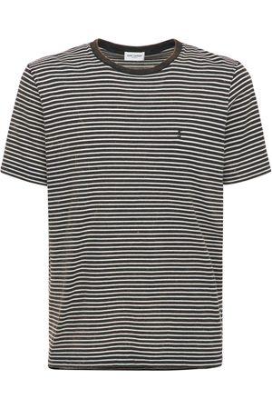 Saint Laurent Men T-shirts - Logo Tie Dye Striped Cotton T-shirt
