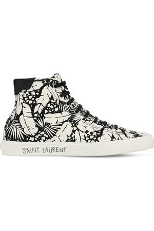 Saint Laurent Palm Print High Top Canvas Sneakers