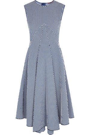 High Women Midi Dresses - Verity checked seersucker midi dress