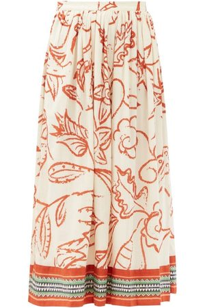 LE SIRENUSE, POSITANO Women Printed Skirts - Jane Paisley-print Cotton Midi Skirt - Womens - Print