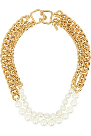 Kenneth Jay Lane Faux pearl-embellished -tone necklace