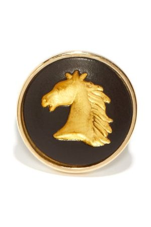 Ferian Horse Wedgwood Cameo & 9kt Signet Ring - Womens