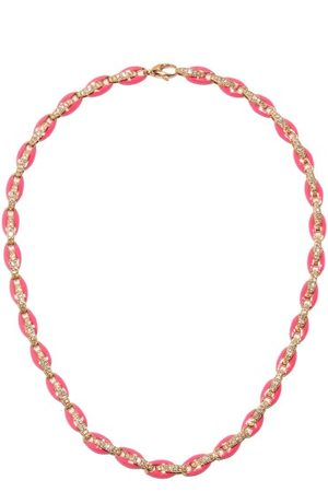 Melissa Kaye Women Necklaces - Ada Diamond, Enamel & 18kt Rose-gold Necklace - Womens - Multi