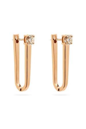 Melissa Kaye Women Earrings - Aria U Diamond & 18kt Rose- Hoop Earrings - Womens - Rose