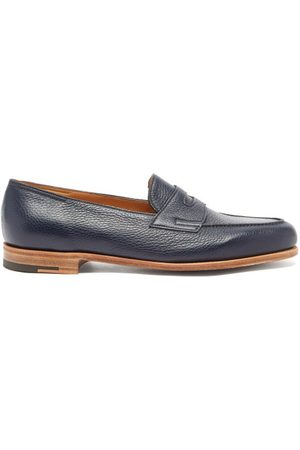 JOHN LOBB Men Loafers - Lopez Grained-leather Penny Loafers - Mens - Navy
