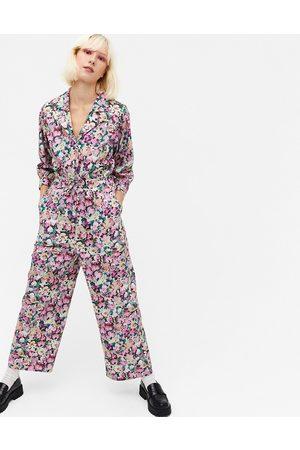 Monki Marelle floral print cotton poplin waisted jumpsuit in multi