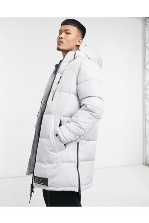 Bershka Puffer Jackets - Longline padded puffer jacket in gray