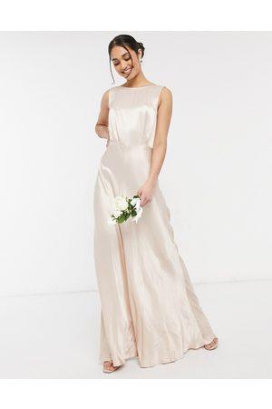 Ghost Women Maxi Dresses - London bridesmaid satin maxi dress in oyster