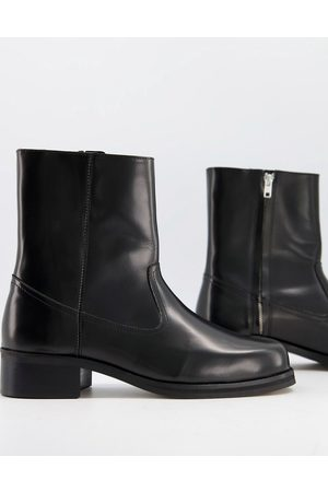 ASOS Women Heeled Boots - Heeled chelsea boots in leather