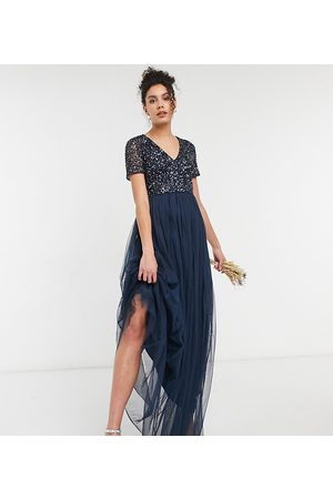 Maya Women Maxi Dresses - Bridesmaid V-neck maxi tulle dress with tonal delicate sequins in navy