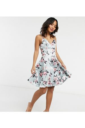 Chi Chi London Structure mini prom dress in floral