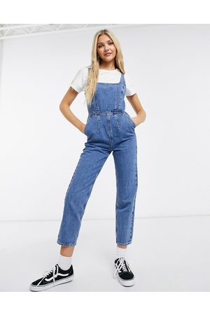 ASOS Denim square neck fitted overalls in midwash-Blues