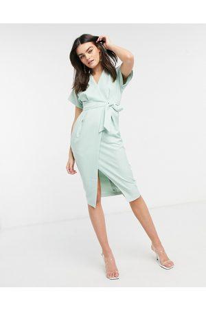 Closet Women Midi Dresses - Kimono wrap tie midi dress in sage