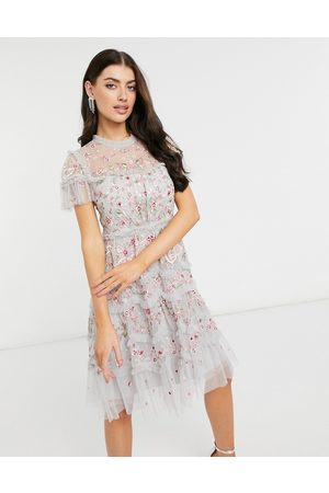 Needle & Thread Women Casual Dresses - Embroidered cap sleeve ribbon mini dress in crystal blue-Blues
