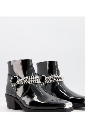 ASOS Women Heeled Boots - Wide Fit cuban heel western chelsea boots in patent with silver chain