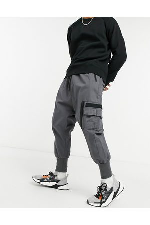 ASOS Drop crotch trousers with MA1 pocket and jersey cuff-Grey