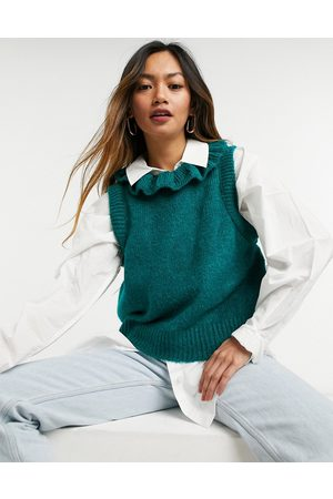 Y.A.S Knitted vest with drop armhole and frill neck in