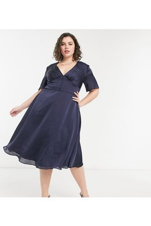 Chi Chi London Button down flutter sleeve midi skater dress in navy