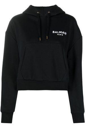 Balmain Cropped flocked logo detail hoodie