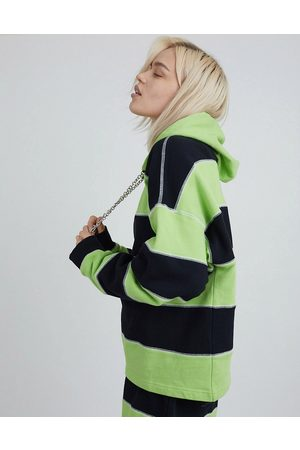 The Ragged Priest Hoodies - Coordinating oversized hoodie with chain drawstring and overlocking in stripe-Multi