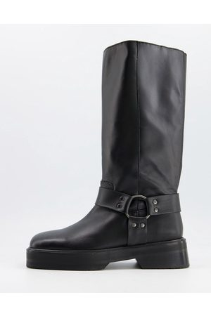ASOS Chilli premium leather harness knee boots in