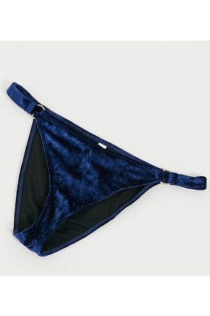 Wolf & Whistle Women Bikinis - Fuller Bust Exclusive ring detail velvet high leg bikini bottom in navy