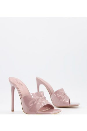 Simmi Wide Fit Simmi London Wide Fit Samie ruched mules in blush patent