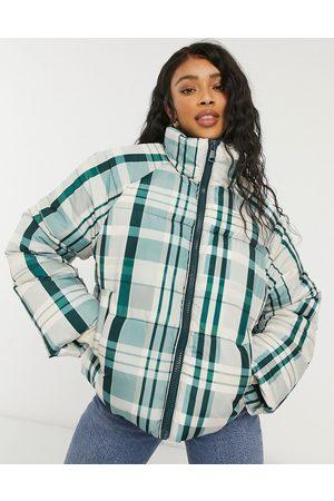 Monki Sue short padded jacket in plaid